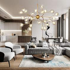 ZHISHU Novelty Chandelier Ambient Light Painted Finishes Metal Glass Creative, New Design / Bulb Included / Living Room Lighting Design, Dining Room Design, Modern Dining Room Lighting, Chandelier In Living Room, Chandelier Design, Sputnik Chandelier, Modern Chandelier, Chandelier Creative, Branch Chandelier