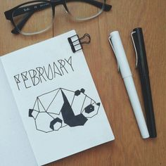 Bullet journal monthly cover page, February cover page, geometric drawing, geometric animal drawing, panda drawing. | @passionatehobbyist