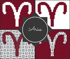 Aries Zodiac Blocks for Cross Stitch and Blackwork