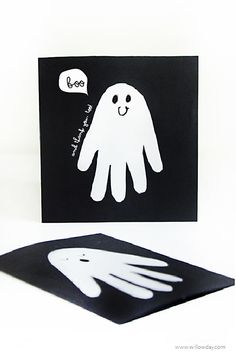 Halloween cards: Make Modern Ghost Handprint Cards | willowday