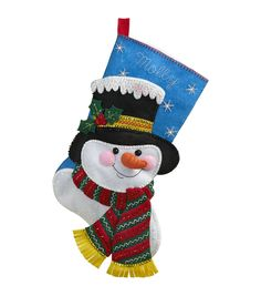 Adorn your Christmas tree, living room wall or entrance door with an adorable winter-themed accent, using the Bucilla Stocking Felt Applique Kit-Jack Frost. Symbolically credited with the win Needlepoint Christmas Stocking Kits, Felt Stocking Kit, Christmas Applique, Felt Christmas, Christmas Holidays, Christmas Trees, Christmas Crafts, Jack Frost, Felt Applique