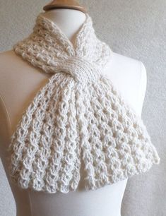 Free Knitting Pattern for 4 Row Repeat Loopy Lace Scarf