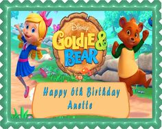 Goldie & Bear 1 Edible Birthday Cake Topper OR Cupcake Topper, Decor