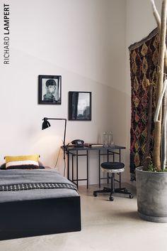 trestle ›Eiermann 3‹  by Alexander Seifried, swivel stool ›Mr. Round‹  by Alexander Seifried, stacking bed ›Lönneberga‹ by Alexander Seifried #work #homeoffice #desk