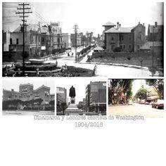 Dinamarca al cruce con Londres, plaza Washington  Fotos: años 1904, 1907 casona, 1960 edificios deptos y actual 2016