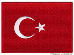 TURKEY FLAG PATCH iron-on embroidered applique by SouvenirPatch