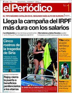 El Periódico de Cataluña (España) - 01 de abril de 2013. Una portada en juicio público. ¿Cuál es el aporte periodístico de poner a la canciller alemana en traje de baño en la portada?