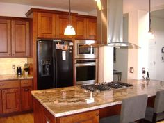 ... Aid Cabinet : Agreeable Kitchen Design With Two Door Black Refrigerator Including Mellowed Light Walnut Kitchen Aid Cabinet And Light Brown Granite ...
