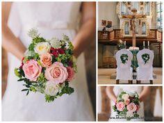 www.blumenfrauen.blogspot.de Brautstrauß, Rosen, Kirchendekoration, Hochzeitsfloristik wedding, bridalbouquet