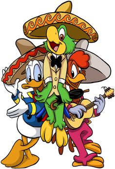 i fixed it from a comic cause .i didnt like the colors at all well i tried to color XD it was so fun jose carioca , panchito pistoles n donald duck (c) disney Disney Duck, Disney Love, Disney Art, Disney Pixar, Goofy Disney, Walt Disney Characters, Disney Posters, Cartoon Characters, Mickey Mouse Wallpaper Iphone