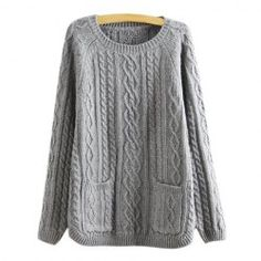 $13.53 Retro Style Solid Color Pullover Cable Knit Sweater For Women