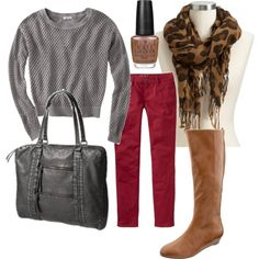 Designer Clothes, Shoes & Bags for Women Red Pants Outfit, Green Jeans, My Style, Fall, Womens Fashion, Pretty, Polyvore, Outfits, Shopping