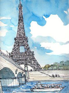 París Torre Eiffel Francia arte grabado de un acuarela