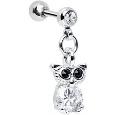 Clear Cubic Zirconia Enlightened Owl Dangle Tragus Cartilage Earring | Body Candy Body Jewelry #bodycandy