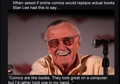 Stan Lee, titan of the comic book industry, will be interviewed by Mashable's Sam Laird on Thursday. For those unfamiliar, Stan Lee is one of the creative forces behind Marvel Comics. Online Comic Books, Online Comics, Stan Lee Quotes, Funny Images, Funny Pictures, Funny Pics, Free Pictures, The Meta Picture, Man Lee
