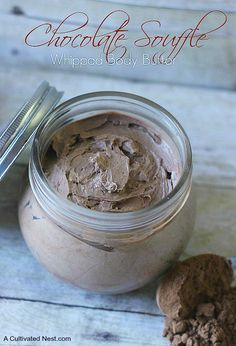 This homemade chocolate whipped body butter has just 4 simple ingredients and is free of much of the artificial ingredients that you find in store bought.