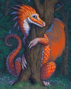Dragon Shy Whimsical dragon art by Susan Van by SusanVanCamp Dragon 2, Fantasy Dragon, Fire Dragon, Cute Dragons, Imagine Dragons, Magical Creatures, Fantasy Creatures, Fantasy World, Fantasy Art