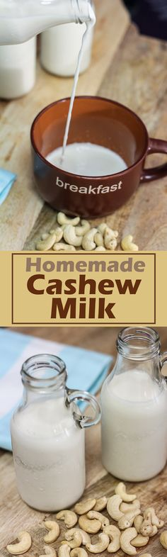 This homemade Cashew Milk was a breeze to make. It is much quicker and easier to prepare than almond milk as it easily blends into a smooth texture. Homemade Smoothies, Yogurt Smoothies, Smoothie Recipes, Fruit Yogurt, Milk Recipes, Dairy Free Recipes, Raw Food Recipes, Gluten Free, Healthy Recipes