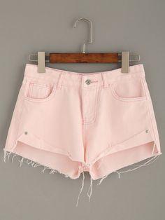 Shorts desflecado denim - rosa