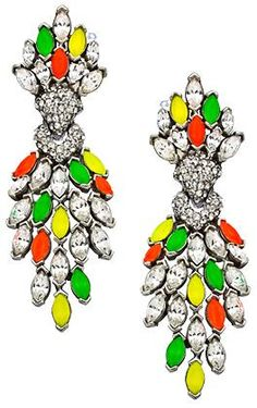 Ben-Amun Swarovski Clear and Neon Crystal Clip Earrings. At Max and Chloe.