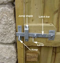 Gate latch with lever.  Could construct one out of wood.  What does that lever look like on the other side..?