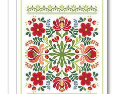 Hungarian Folk Design Greeting Card BP13