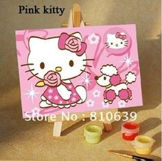 mobile site-10*15cm digital Oil Paintings Hello Kitty Diy Oil art Painting education for Hand-paint