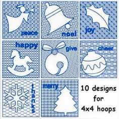 """""""Winter Wishes"""" With 8 designs for 4x4 hoops. Wonderful motif fills, with words of holiday cheer such as Joy, Peace, plus icons like an Angel, bells and more!"""