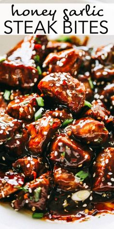Tender delicious and juicy bites of sirloin steak cooked in a flavorful honey garlic sauce. This Honey Garlic Steak Bites recipe is a quick dinner idea or game day food thats ready in minutes! Steak Dinner Recipes, Sirloin Steak Recipes, Sirloin Steaks, Steak Appetizers, Dinner Ideas With Steak, Beef Cube Steak Recipes, Steak Dinners, Easy Steak Recipes, Beef Tenderloin