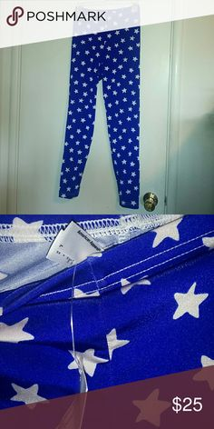 Blue and white stars leggings superhero nylon Blue and white stars leggings in shiny nylon tricot by American Apparel. Great for Wonder Woman, Captain America, or other superhero cosplay. Or just because. American Apparel Pants Leggings
