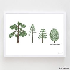 Pine Trees in Sweden  A4 Hand Drawn Illustration Print by n0meo, £15.00