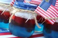 Patriotic Party Jello Snacks Baby food Jars Red, blue, and white spray paint for lids Red and blue jello strawberries and blueberries twine miniature flags whipped topping Patriotic Party, 4th Of July Party, Fourth Of July, Patriotic Crafts, July Crafts, Holiday Treats, Holiday Recipes, Holiday Foods, Holiday Fun