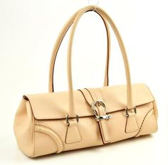 Burberry Nude Beige Leather Barrel Flap Handbag Bag