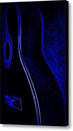 Blue Neon Acoustic Guitar Canvas Print / Canvas Art By Laurie Pike