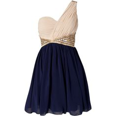 Little Mistress Two Color One Shoulder Dress (€29) ❤ liked on Polyvore featuring dresses, vestidos, robe, short dresses, party dresses, navy, blue mini dress, sequin dress, navy cocktail dress and blue cocktail dress