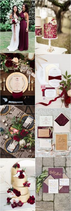 burgundy and gold fall wedding color ideas / www. autumn wedding colors / wedding in fall / fall wedding color ideas / fall wedding party / april wedding ideas Burgundy Wedding Cake, Maroon Wedding, Fall Wedding Cakes, Fall Wedding Colors, Wedding Color Schemes, Wedding Favors, Wedding Decorations, Autumn Wedding, Engagement Decorations