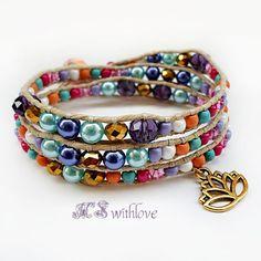Colorful Bohemian Wrap Bracelet, Golden Lottus Flower Bracelet, Yoga Bracelet by MSwithlove on Etsy