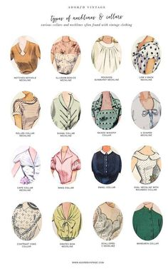 Guide to Vintage Collars and Necklines*You can find the Guide to Vintage Sleeves here.Do you shop vintage? Here's a good reference infographic for collars and necklines found on vintage garments.You can find the Guide to Vintage Collars and. Vintage Outfits, Vintage Dresses, Fashion Vintage, 1950s Fashion Women, 1950s Dresses, Vintage Fashion Sketches, Dresses Art, 1950s Fashion Dresses, Vintage Fashion 1950s