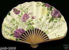 SILK HAND FAN Folding SensuPurple Peony Bamboo Flower