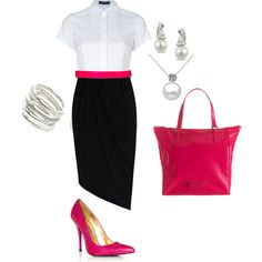 Pink at the Office, created by kelsey-blomquist on Polyvore