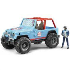 Bruder Jeep Cross Safari Aracı Kasklı Pilotu Mavi