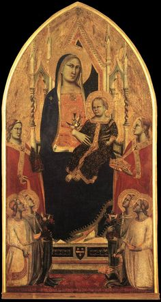 This photo is really missing the richness of color - the deep, vibant blue, the searing red... oh well.  -Madonna and Child Enthroned with Angels and Saints