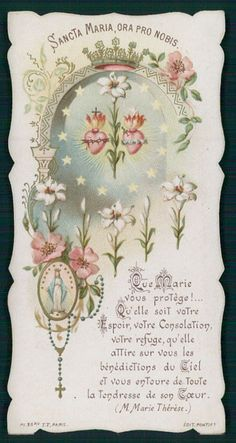 Antique HOLY CARD Vintage Die Cut Saint Mary flower Rosary crown gold TF
