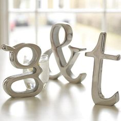 I've just found Aluminium Letters. Personalised heavy aluminium letters in Times New Roman font, they stand alone and have a flat base. Interior Accessories, Decorative Accessories, Wooden Alphabet Letters, Roman Fonts, Free Standing Letters, Browns Gifts, Best Wedding Gifts, Letters And Numbers, Wooden Diy