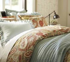 Possible Christmas Bedding- bring a little red into our blue bedroom? Harper Paisley Duvet Cover & Sham #potterybarn
