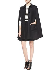 5218d903 Wool-Blend Button-Front Cape & Striped Sweater Top Flared Dress by RED  Valentino