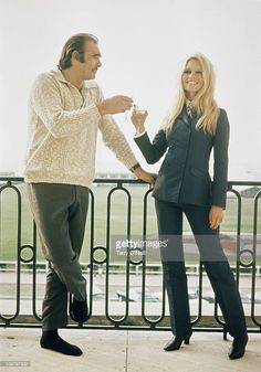 French actress and sex symbol Brigitte Bardot and British actor Sean Connery pose for publicity shot during their first meeting in France before filming Shalako.
