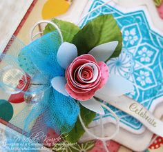close up of card designed by Michele Kovack using Starburst Medallion Labels.