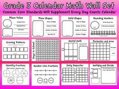 Common Core 3rd Grade Calendar Wall Set-Supplement Every Day Counts.....Would like a 2nd grade version!