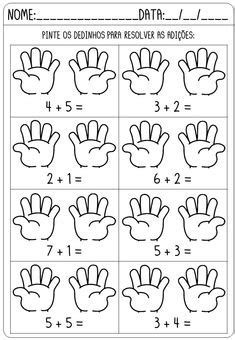 Math Addition Worksheets, 1st Grade Worksheets, Kindergarten Math Worksheets, Preschool Learning, Preschool Activities, Math Literacy, Math For Kids, Kids Education, Special Education